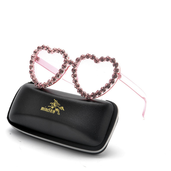 Crystal Diamond love Sunglasses For Women Luxury Fashion Candy Shades UV400 Brand Glasses Transparent Frame FML