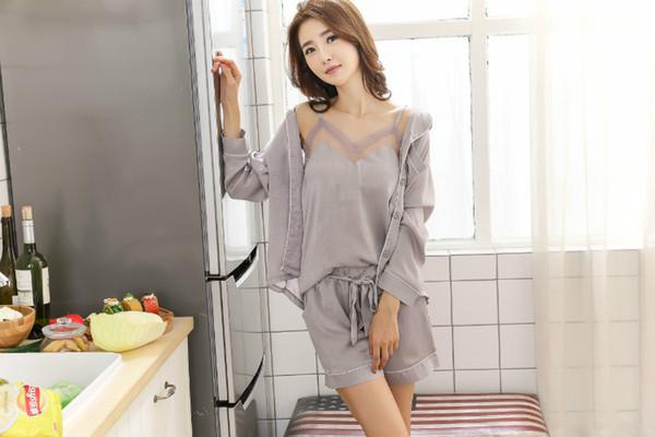 n Summer Women Snow Lotus Print Silk Pajamas Comfortable 3 Piece Set Sexy Sleepwear Home Clothes Bathrobe Nightwear
