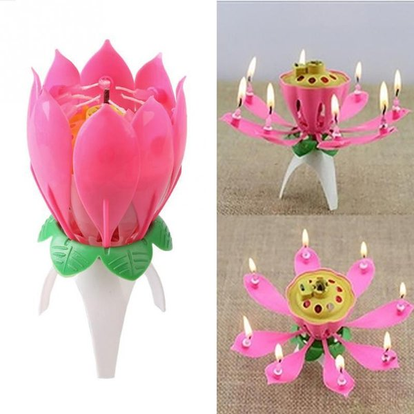 Birthday Romantic Pink Will Bloom Beautiful Lotus Shaped Candle C19041901