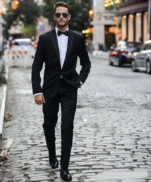 Siyah Düğün Smokin Bir Düğme Yan Yarık Klasik Fit Notch Yaka Damat Smokin Sağdıç Suit Düğün Suit (Ceket + Pantolon + Papyon)