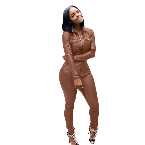 New Women Set Tracksuit PU Leather Sets Fashion Casual Jackets Pants Solid Office Lady OL Business Design Spring Autumn Party Club Suits