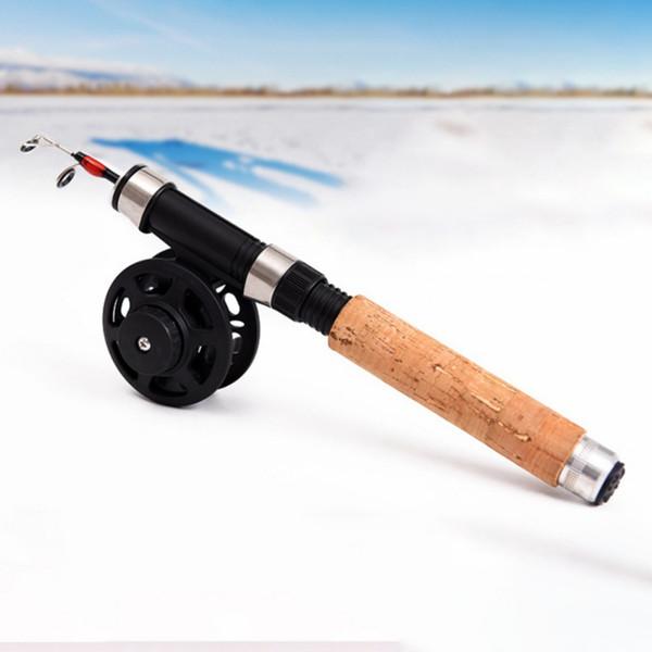 낚시 매우 짧은 얼음 낚시대 EVA 핸들 라인 휠 새로운로드 태클 루어 루어 방적