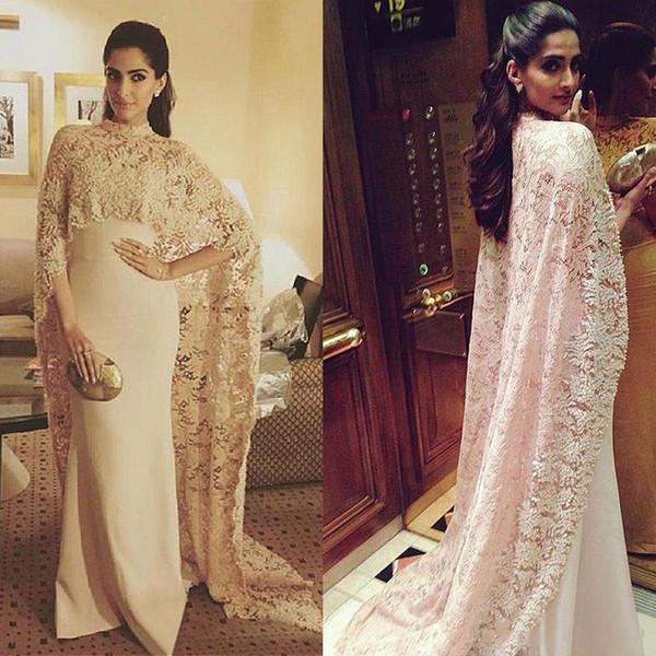2019 Fabulous Lace & Stretch Satin High Collar Saudi Arabia Style Evening Prom Growns Wrap Champagne Evenging Dress vestidos longos de festa