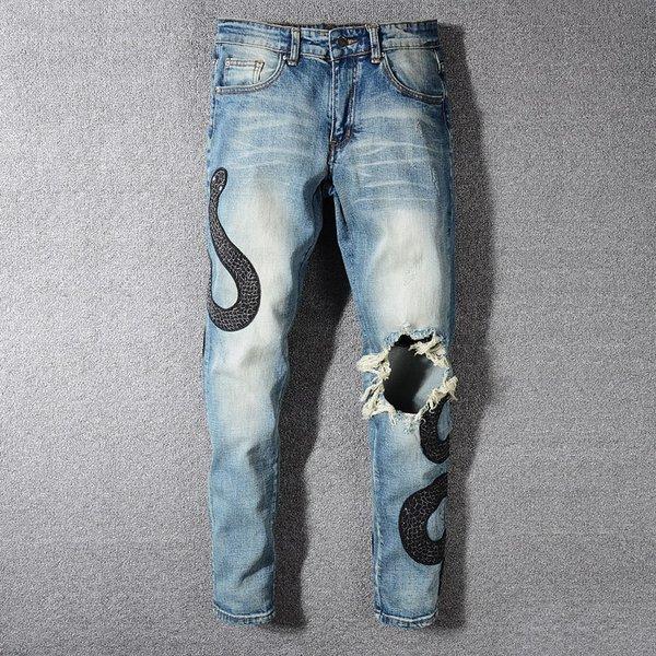 2019 Hot Men Holes Skinny Biker Zipper Jeans New Mens holes Motorcycle Denim Hip Hop Pant For Men trousers