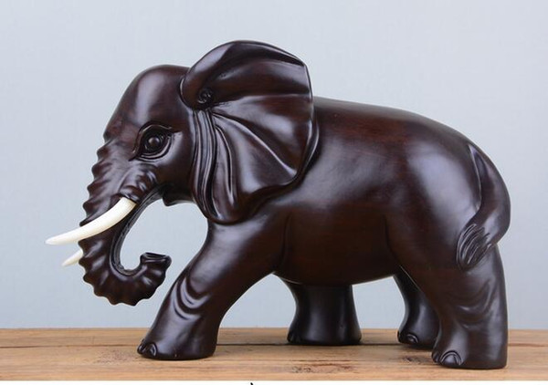 black sandalwood hand-carved solid Carved wooden elephant living room porch wood decoration statue factory direct selling