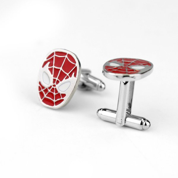 Superhero Style Simple Spider-Man Logo French Cufflinks For Mens Shirt Brand Cuff Buttons Vintage Cuff Links