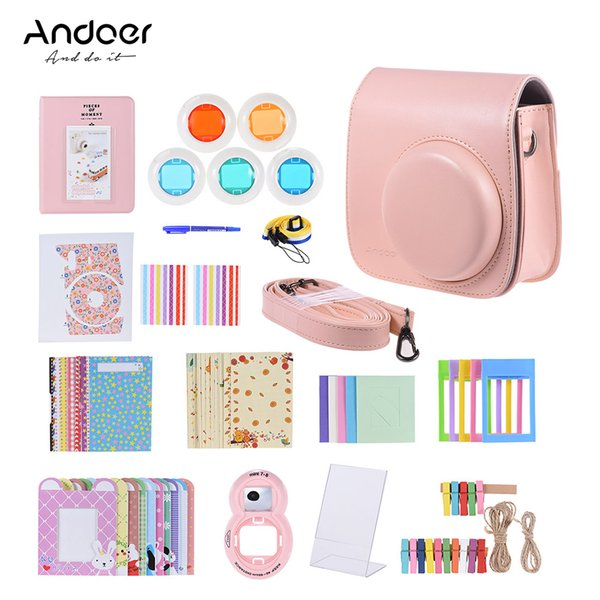 camera case Andoer 14in1 Accessories Kit for Fujifilm Instax Mini 8/8+/8s/9 Camera Case +Strap/Sticker/Filter/Selfie Lens/Album Accessories