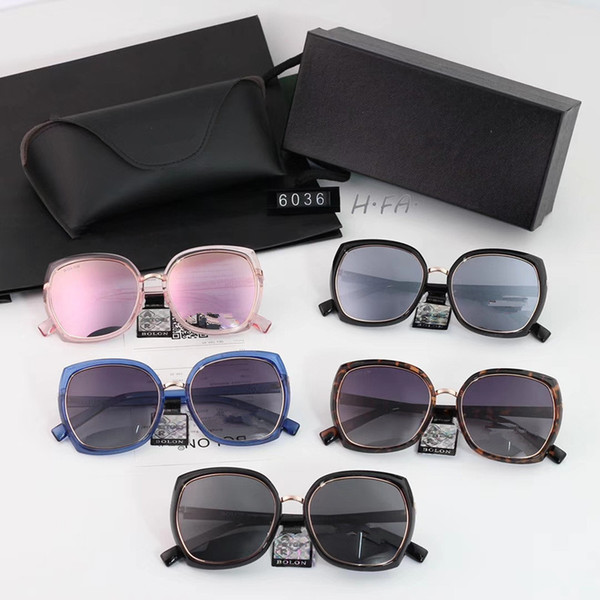 2018 new sunglasses female personality large frame fashion glasses polarized lens plate gold combined frame color: 5 model: 6036