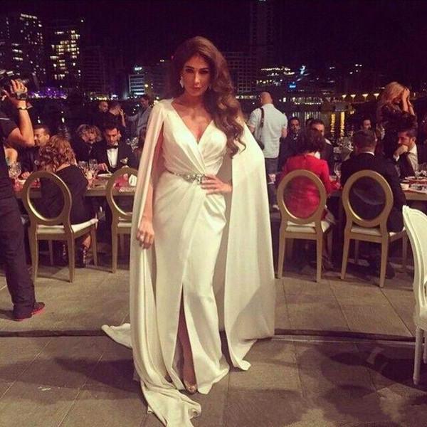 Nancy Ajram Split Evening Dresses With Cape Zuhair Murad V Neck Satin Arabic Prom Dresses 2019 Prom Wear Party Gowns