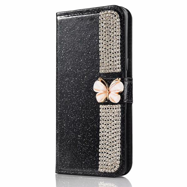 Custodia a portafoglio per iPhone con strass Bling per iPhone XS Max / XR 8/7/6 / 5S Plus Flip paraurti con supporto per carte con supporto per Galaxy S9 S9 + S8 S8 +