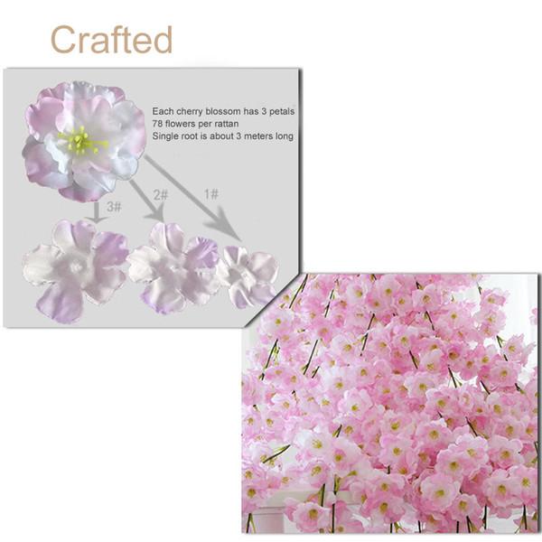 1pcs artificielle Fleur de cerisier Vines 2M Hanging fleurs en soie Garland pour le mariage NIN668