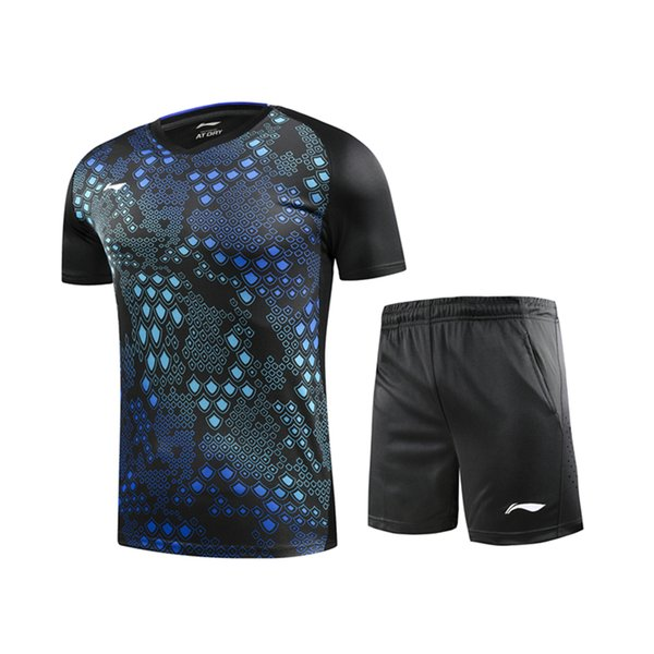 best selling New badminton suit, table tennis shirt, men's and women's short sleeves + shorts, badminton shirt, tennis shirt, free shipping