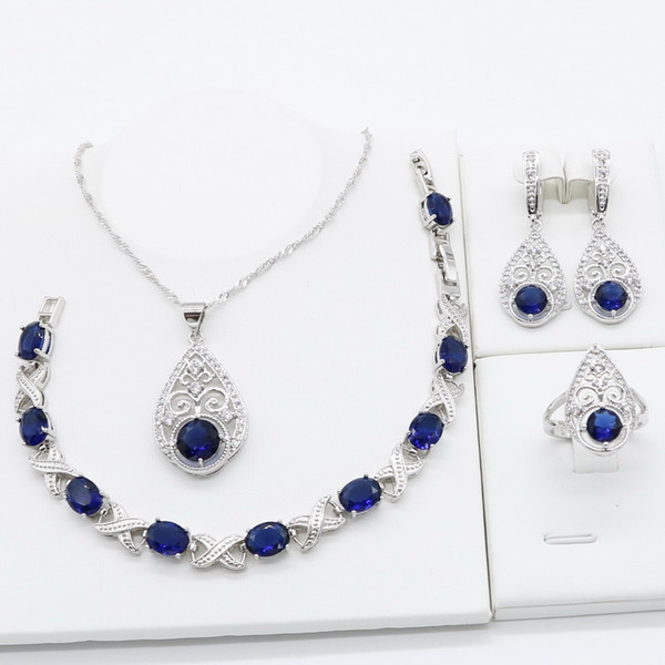 Royal Blue Semi-precious 925 Silver Jewelry Sets for Women Necklace Pendant Bracelet Ring Earrings Christmas Birthday Gift