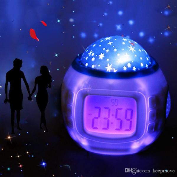 Cadeaux Enfants Musique Starry Star Snooze Numérique Led Projecteur Réveil Calendrier Thermomètre Relogio De Mesa despertador