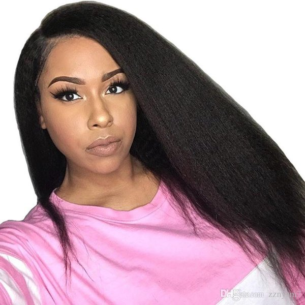 Kinky Straight Lace Front Human Hair Wigs For Women Black 13X4 Part Pre Plucked 250 Density Brazilian Lace Hair Wig Prosa Remy