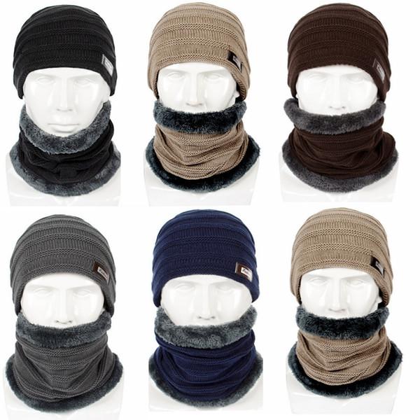 Hochwertige Herren Winter dicke Fleece Strickmütze + Halstuch warm halten 2 Stück Set Herren Wolle Ohrenschützer Hut Schals