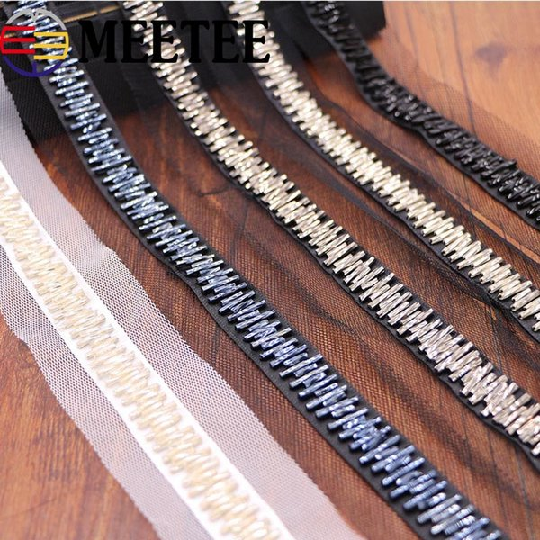 meetee Pearl Beaded Lace Trims Mesh Lace Ribbon Fabric Decorative Trimmings Wedding Dress Collar Lace Applique DIY Crafts