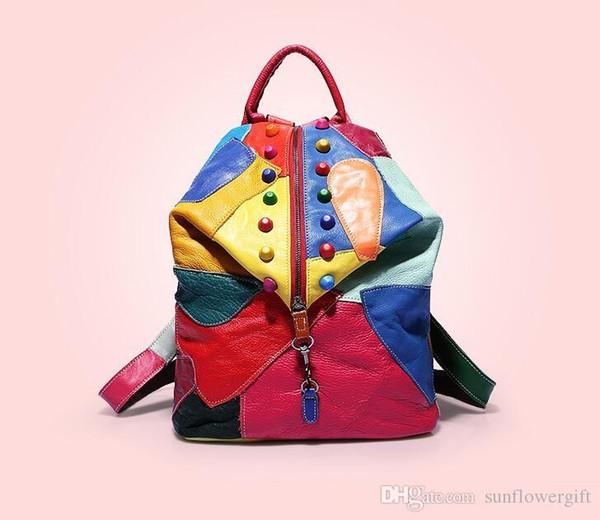 Neue Ankunfts-echtes Leder-bunte Rivat-Art- und Weisereise-Rucksack-Frauen-beiläufige Spielraum-Beutel 4 Farben-vorhandene Damen-Knopf-europäische Art