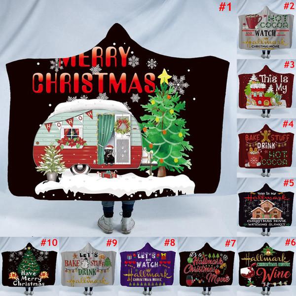 Manta con capucha de Navidad 9 colores Invierno usable 150 * 200 cm para adultos Cama suave Inicio Mantas de sofá Mantas Mujeres Cape LJJO7158