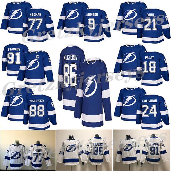 Tampa Bay Lightning 2018 Azul Branco 91 Steven Stamkos 86 Nikita Kucherov 77 Vencedor Hedman 88 Andrei Vasilevskiy camisa de hóquei