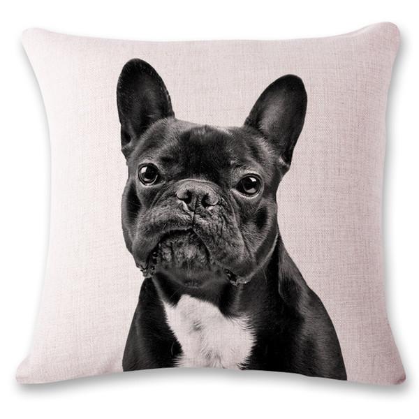 2019 New 3D cute dog bulldog office chair lumbar support pillow photo customized pillow custom printed linen pillowcase Case