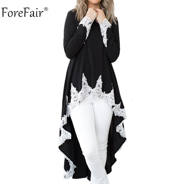 Forefair Women Long Sleeve Lace Blouse Winter Autumn 2018 Casual Loose Elegant Patchwork Long Tops Plus Size Ladies Tops V191128
