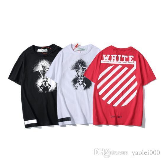 Ghost Print Short Sleeve Round Stripe Casual T-Shirt Tide Brand Short Sleeve Youth University Cotton Round Neck T-Shirt WHITE