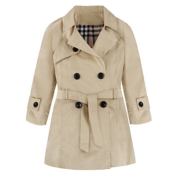 Lady style Children trench coat kids designer clothes girls plaid lining long outwear girls lapel double pocket Bows belt outwear F9125