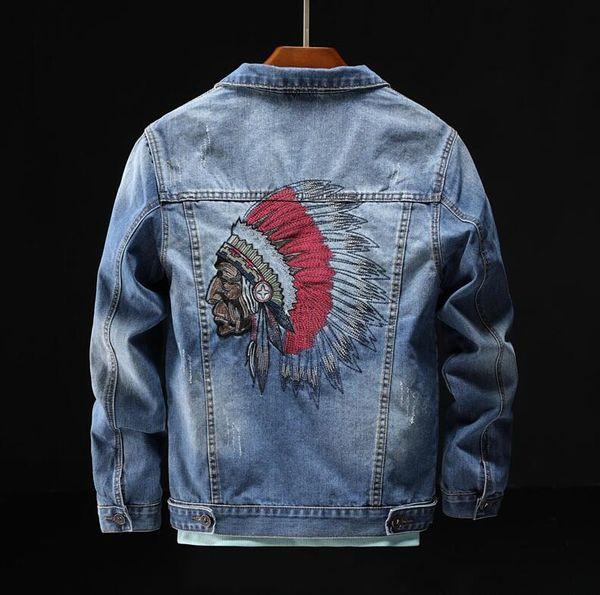 Indian Feather Coiffe Jeans Broderie Veste Homme 2019 nouvelle personnalité de la mode veste Hip Hop Denim Homme Marque Vêtements W88