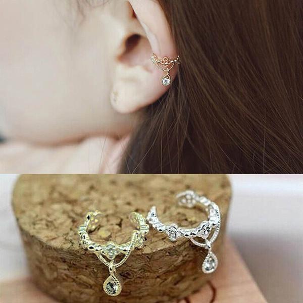 Elegant Earclip Ear Bone Folder Ear Cuff Wrap Rhinestone Cartilage Clip On Earring Fashion Lovely Gifts M65