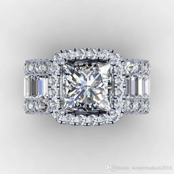 Amantes do vintage anel de diamantes 3ct 925 anel de noivado anel de prata esterlina para mulheres homens dedo presente da jóia