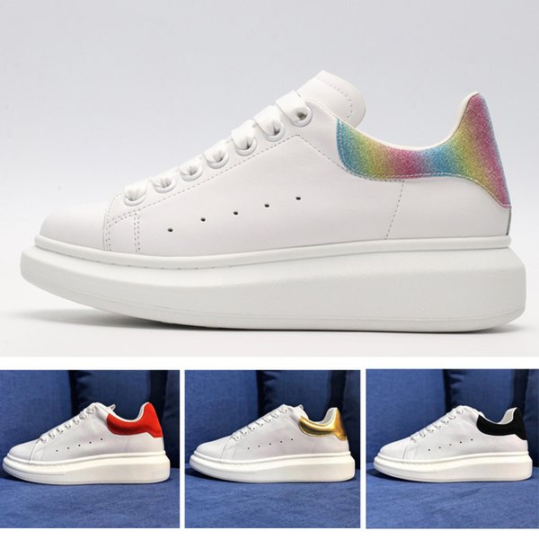 2019 Discount Queen brand fashion designer women shoes Alexander white Casual shoes MC Leather womens Platform Shoes Flat sneakers 36-45