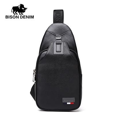 BISON DENIM Bolsos Crossbody de Los Hombres de Cuero Genuino Casual Messenger Bag Pequeña Marca de Diseño Bolso de Hombro Masculino Pecho Paquete de La Cintura N2492