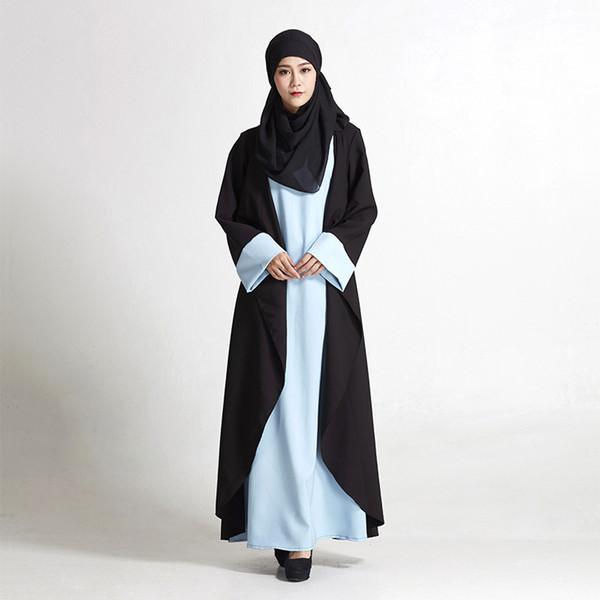 Casual Islamic Abaya Muslim Robe Gowns Arab Dubai Middle East Turkey Clothing Maxi Dress Jilbab Cardigan Free Style Long Sleeve