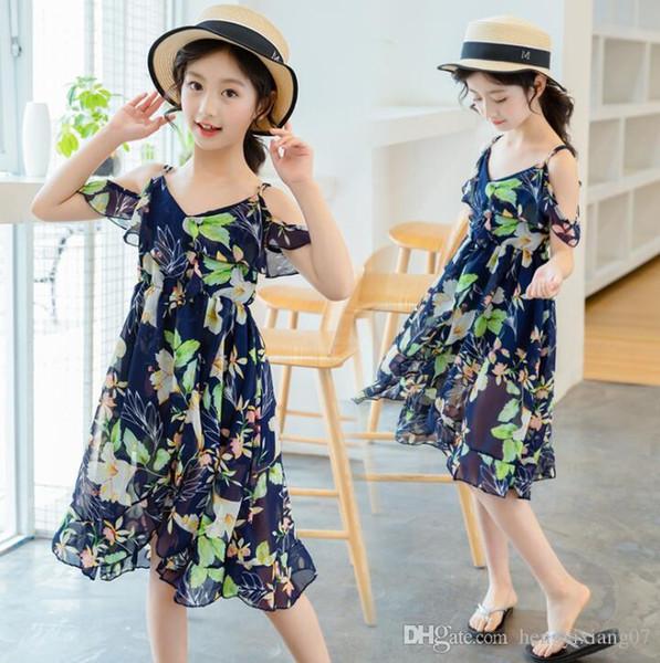 New Girls Longuette cotton Broken flowers Dress Dresses Girl Prom Dresses Summer Princess Dress best quality 4-21 lw24