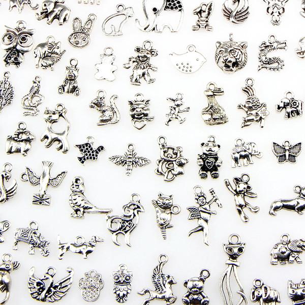 Çeşitli 100 Tasarımlar Hayvan Charms Kedi Domuz Ayı Kuş Yılan At Köpek Sincap Swan Ox ... Kolye DIY Kolye Bilezik Takı Yapımı Için