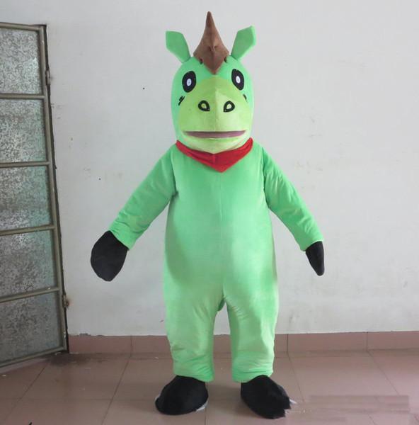 2019 de alta qualidade cor verde quente traje da mascote do pônei mascote terno para adultos