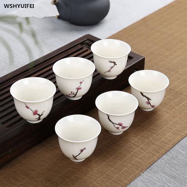 6 PCS / lot Kung Fu thé composition céramique émail ensemble paquet modèle violet de style japonais petite tasse de thé