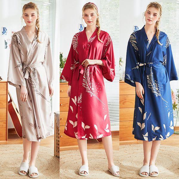 Femmes Soie Pyjama Chemise De Nuit Longs Robes Plus La Taille Sexy Home Wear Dames Printemps et été Vêtements De Nuit New Fashion L XL XXL