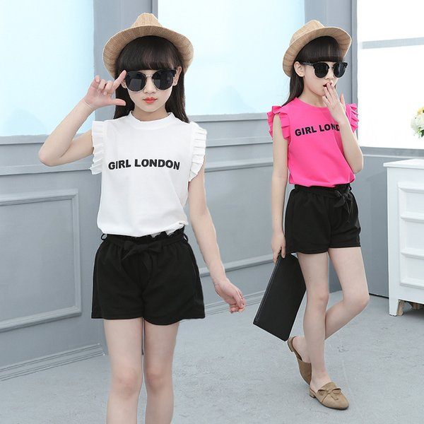 Little Girl Summer Suit 2019 New Fashion Letters, Sleeveless T-shirt + Shorts, Casual Two Piece Set.