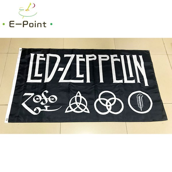 Bandera de bandera de Led Zeppelin Rock Band 3 * 5 pies (90 cm * 150 cm) Bandera de poliéster Bandera decoración bandera de vuelo jardín de casa Regalos festivos