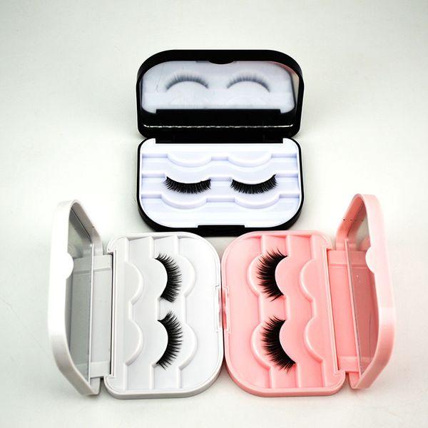 Empty Lash Case False Eyelashes Packing Box for 3 Pairs Pink Black White Color Eyelash Case with Mirror
