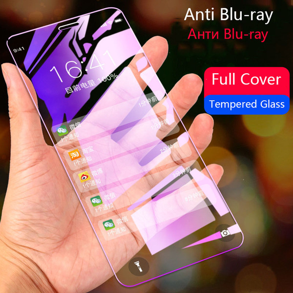 Tempered Glass on the for iPhone 6s 6 7 plus 8 8 Plus X Screen Protector Violet Anti Blu-ray Full Cover for iPhone 7 Protective
