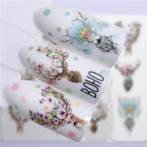 5 Sheet Nail Sticker Flower Decal Animal Flamingo Deer Butterfly Nail Art Water Transfer Slider Foils Decoration