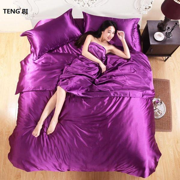 HOT 100% puro satén de seda del lecho de materia textil del hogar King Set Size, ropa de cama, funda nórdica hoja plana mayor Nueva fundas de almohada