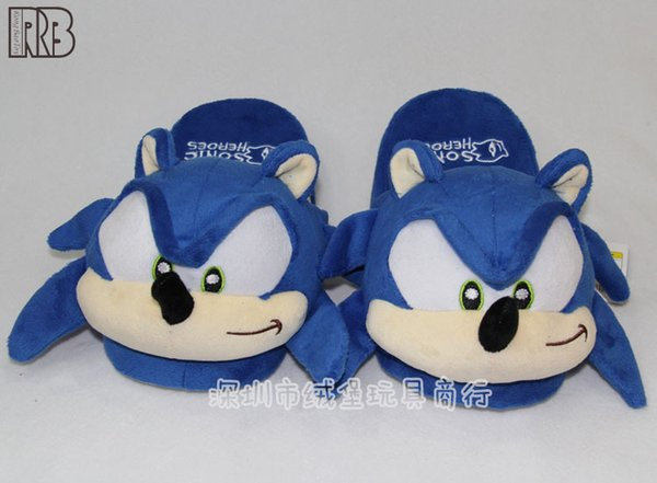 Hot Sale Super Sonic Cartoon Slippers Blue Plush Doll 11 inch Adults Plush Sonic Slippers Free Shipping