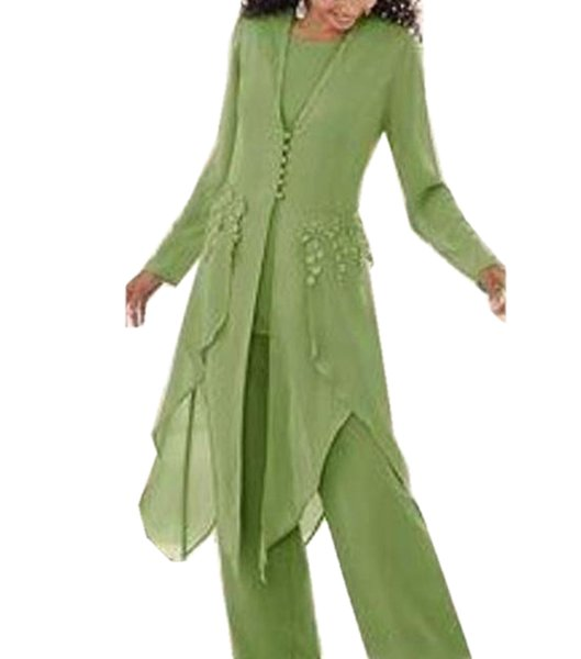 Women 3 Pieces Applique Chiffon Mother of Bride dress pant suits Long Sleeve With Long Jacket for Wedding