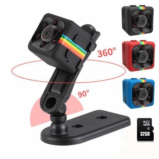 SQ11 Mini cámara HD 1080P Visión Nocturna Mini Videocámara Cámara de acción DV Video Grabadora de voz Micro Cámara (incluye tarjeta de memoria de 32GB)