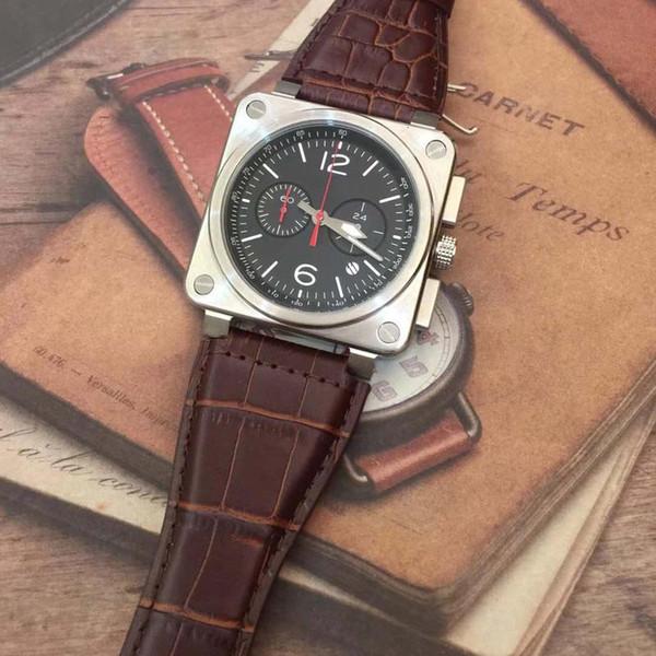 Saatı Kırmızı Ikinci Özel Havacılık Miras Chronograph Kuvars Erkek Saatler Br0394 Dalgıç Kahverengi Deri Kayış Siyah Kadran Saatı