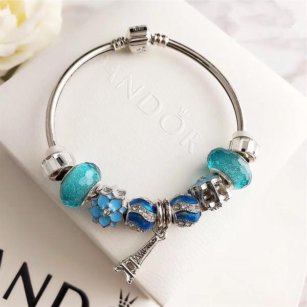 Bracelet Pandora charme de luxe des femmes de bijoux designer de vis en acier inoxydable manchette dame bracciali cadeau Bracciale donna boîte d'origine